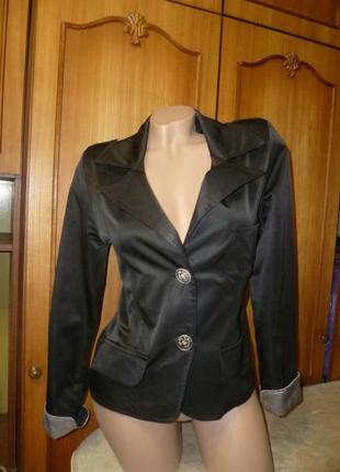 Атласный пиджак-жакет yu vilen,винтаж,приталеный,короткий,с длинным рукавом