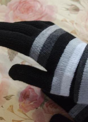 Тёплые длиннные полосатые перчатки