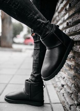 Мужские чёрные кожаные ботинки/уги/угги/сапоги с мехом💥ugg mini leather black💥чоловічі угі