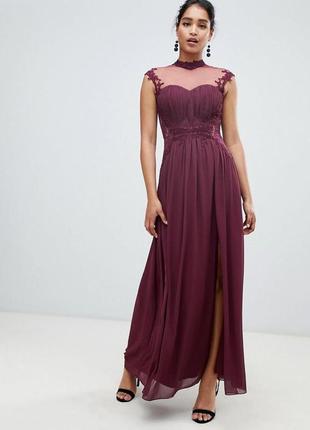 Нереально красивое платье макси, с разрезом, с кружевными вставками