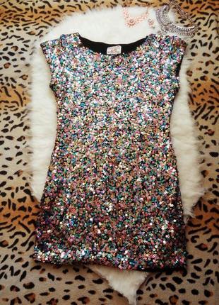 Платье туника разноцветные пайетки блестки батал блестящее нарядная стрейч