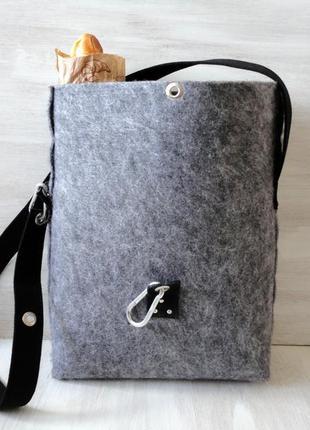 Сумка тоут из войлока, зимняя, крепкая, вместительная сумка, застёжка карабин