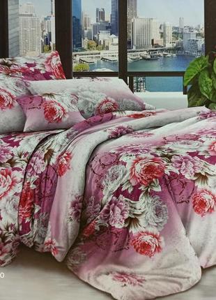 Комплект постельного белья пионы розовые с белым очень дёшево