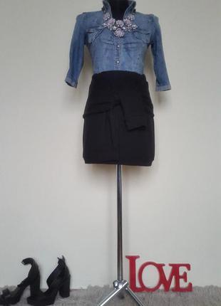 Теплая юбка с рукавами завязками