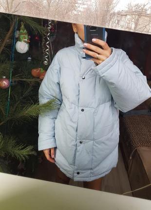 Стильный перьевой немецкий дутый пуховик куртка eshtes объемный голубой в стиле оверсайз