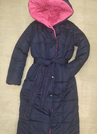 Двусторонний новый классный пуховик (пальто), универсальный размер