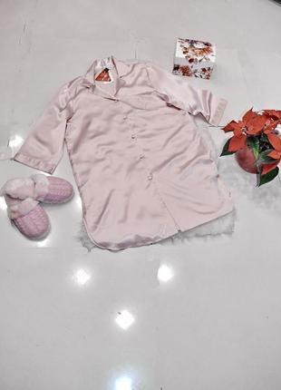 Женская атласная рубаха marks & spenсer нежно-розового цвета. .код п36790