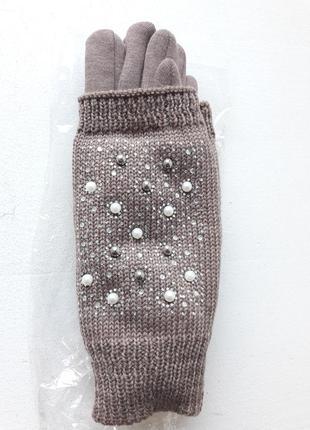 Женские сенсорные перчатки с бусинами
