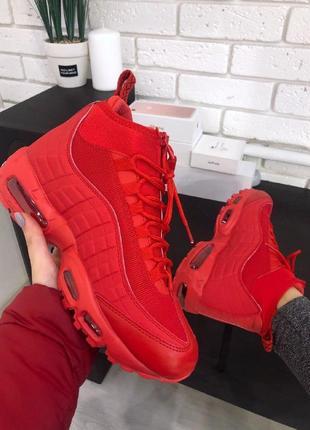 Nike air max 95 sneakerboot red мужские зимние кроссовки с термоноском