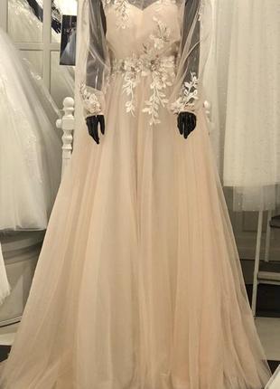 Платье в стиле бохо цвет айвори пудра