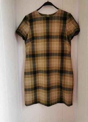 Шерстяной платье-футляр в клетку hobbs