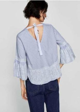 Блузка в полоску с кружевом от zara.