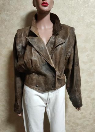 Натуральная кожаная винтажная куртка италия ретро ексклюзив обьемные плечи