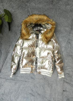 ✅ дутая куртка блестящая с капюшоном мех опушка мех эко енот