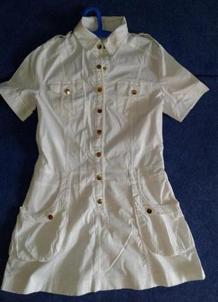 Платье рубашка белое