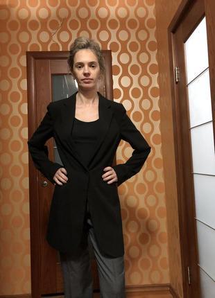 Длинный пиджак блейзер черный двубортный на одной пуговице
