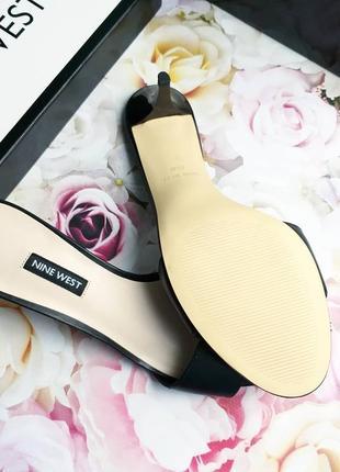 Nine west оригинал кожаные черные мюли на киттен каблуке2 фото