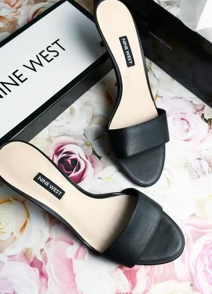 Nine west оригинал кожаные черные мюли на киттен каблуке4 фото