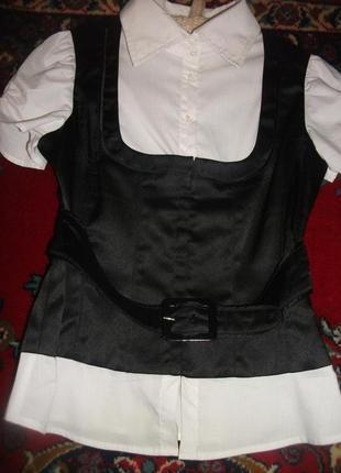 Блузка черно-белая