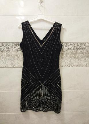 Винтажное вечернее платье расшитое пайетками и бисером