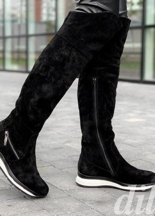 Сапоги ботфорты женские зимние замшевые кожаные черные на танкетке