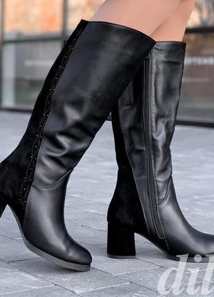 Cапоги женские зимние кожаные замшевые черные с широким голенищем