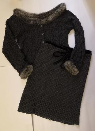 Тёплый ажурный комплект: кофта +юбка, размер с