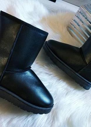 Угги черные средние женские сапоги дутики  эко кожаные