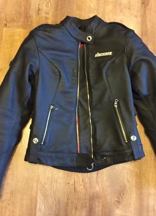 Мотокуртка icon hella leather, размер s
