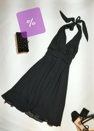 Вечернее платье с драппировкой, юбкой миди и камешками,s,m
