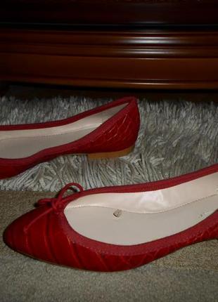 Роскошные красные бренд. балетки zara, крокодил, испания