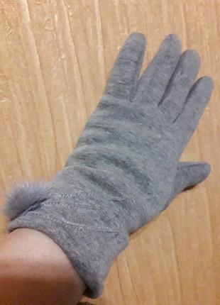 Теплые перчатки с утеплителем кролик