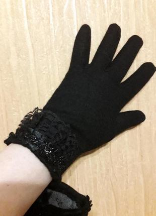 Мягкие шерстяные перчатки с утеплителем ,стриженный кролик