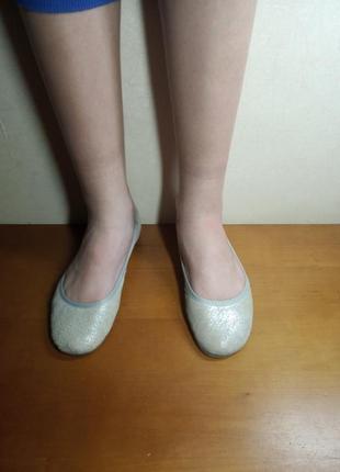Мерцающие серебристые балетки кожа!