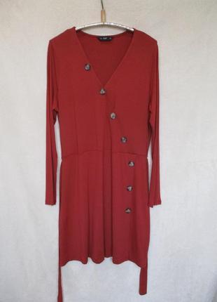 Трикотажное платье с длинным рукавом/на запах с пуговкам/батал uk 20/наш 52 рр