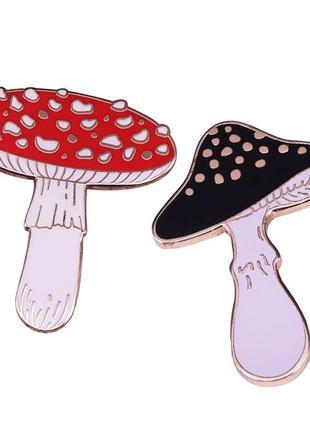 Набор коллекционных значков пинов грибы мухомор парный значок брошь