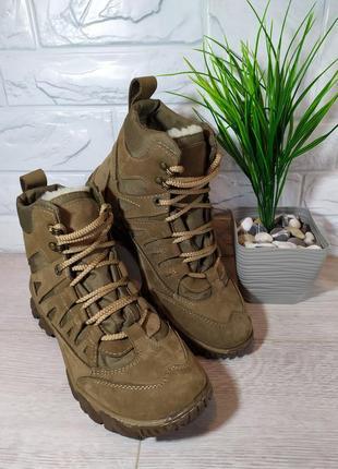 Мужские зимние ботинки  с мехом песочного цвета
