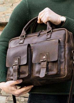 Коричневая мужская сумка baffett, кожаная сумка мессенджер