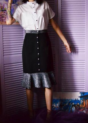 Стильная теплая блестящая юбка миди