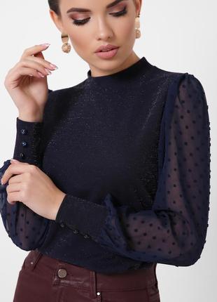 Блузка темно-синя