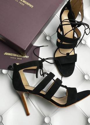 Johnston & murphy оригинал черные замшевые босоножки на шпильке бренд из сша