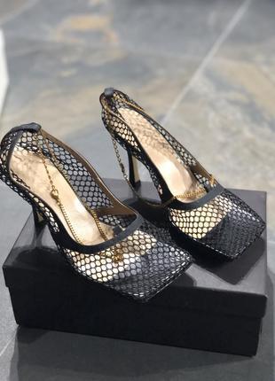 Туфли сетка квадратный носок