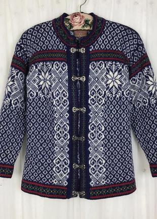 Скандинавский норвежский винтажный тёплый шерстяной свитер в орнамент christiania винтаж