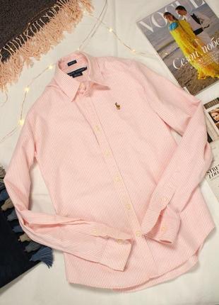 Розовая полосатая рубашка  36 размер с ralph lauren