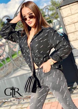 Модная черная рубашка с надписью