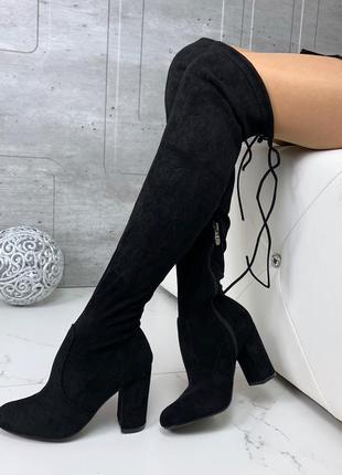 Замшевые сапоги ботфорты на каблуке,высокие сапоги чулки