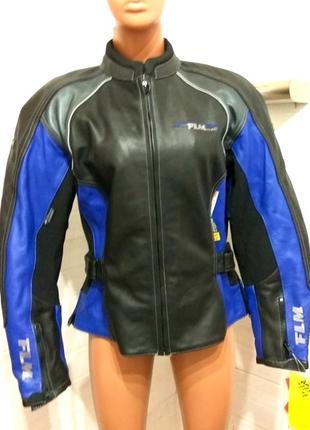 Кожаная мото курточка flm polo утепленная с защитой всей