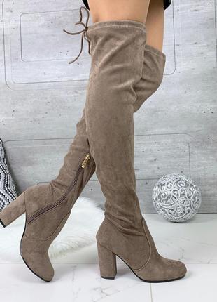 Бежевые сапоги ботфорты на каблуке,замшевые высокие сапоги чулки