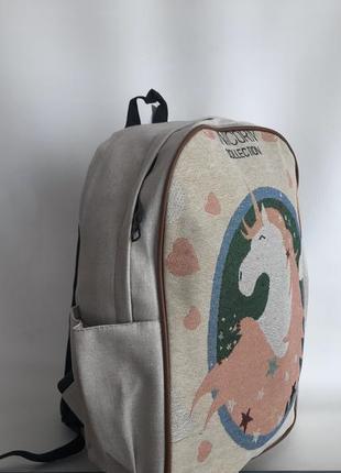 Рюкзак тканевый женский городской единорог