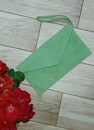 Замшевый клатч-конверт, клатч-барсетка италия